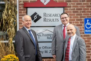Research Results Ribbon Cutting - Picture of Steve Champa, Champa Realty, Anthony Zarrella, Anthony Zarrella Law Office and John Zarrella, President, Research Results Inc.
